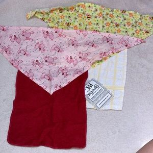 2 Bandana Style Bibs w/Terry Cloth Poodles & Bees